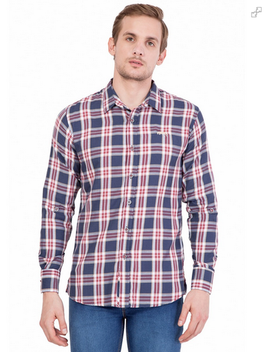 600c0cdecbd9 Hector Slim Fit Navy Blue Check Casual Shirt Ecommerce Shop / Online ...