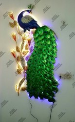 Iron Handicraft Peacock Wall Decor, For Decoration