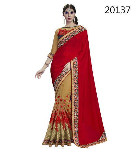 57d31b29b01f07 Chiffon Red Designer Saree