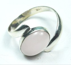 Rose Quartz 925 Sterling Silver Well Carved Rings