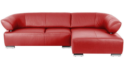 Zonic Leatherette L Shape Sofa In Red Color By Zapwood