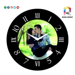 Black Analog Decorative Wall Clock, For Home, Size: 5-8 Inch(dial)