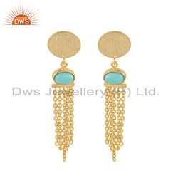 Gold Plated Designer Silver Arizona Turquoise Chandelier Earrings