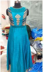 Silk Embroidered Ladies Blue Gown