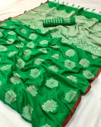 Printed Multicolor Resham Silk Sarees with Blouse Piece
