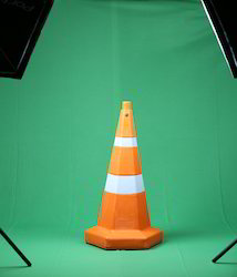 orange hexagonal traffic cone