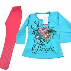 Cotton Regular Wear Kids Fancy Printed Leggings And Top