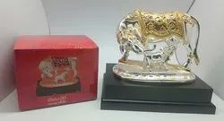 Silver and Gold Plated OM Cow and Calf Statue