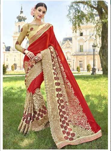 12fffa4c66 Party Wear 3603 Red Georgette Net Traditional Embroidered Saree, With  Blouse Piece