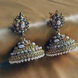 Brass And Beads Golden Artificial Jhumka Earrings