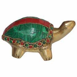 Brass Tortoise With Stone Work