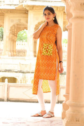 Cotton Straight Casual Wear Kurtis with Side Pocket