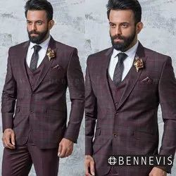 Wedding Maroon Checkered Mens Suit