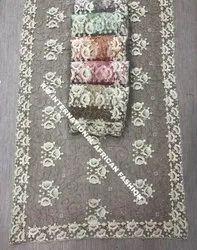 R.B. International Embroidered Designer Hand Work Saree, For Wedding