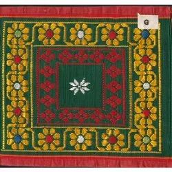 Embroidered Rectangular 52 X 90 Inch Cotton Silk Jamakkalam Carpet, For Home, Weave: Hand Weave