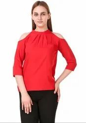 Carmine Red Solid Crepe Top