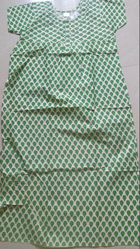 Full Length Green Ladies Night Gown 03, Free Size