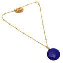 Round Dark Blue Chalcedony 18 Inch Round Ball Chain Hot Model Pendant Necklace