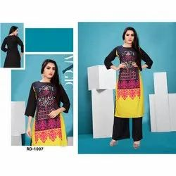 Designer Rayon 3/4th Sleeve Printed Kurti