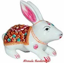 Metal Meenakari Rabbit Statue Enamel Work Figurine