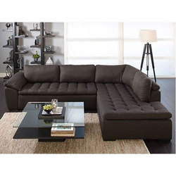 Black 5 Seater Lush Executive Sofa, For Home, Shape: L Shape