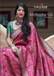 Manjubaa Midhusha Silk Banarasi Saree Catalog Collection