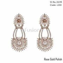 American Diamond Rose Gold Polish Hanging Earrings