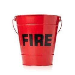 Red Mild Steel Fire Bucket, Capacity: 5 - 10 L