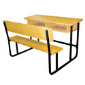 Double Wood Classroom School Desk Furniture Desk Cum Bench Joint Set