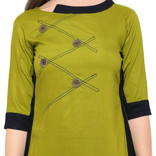 60a4c7b0fc Mehndi Color Online Rahbar Ladies Rayon Kurti, Rs 499 /piece | ID ...