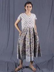 Grey Midi Dress, Cotton Indian Dress, Dress With Pockets, Casual Dress