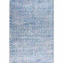 100% Bamboo Fiber Rectangular Tampa Blue Shag Designer Printed Carpet