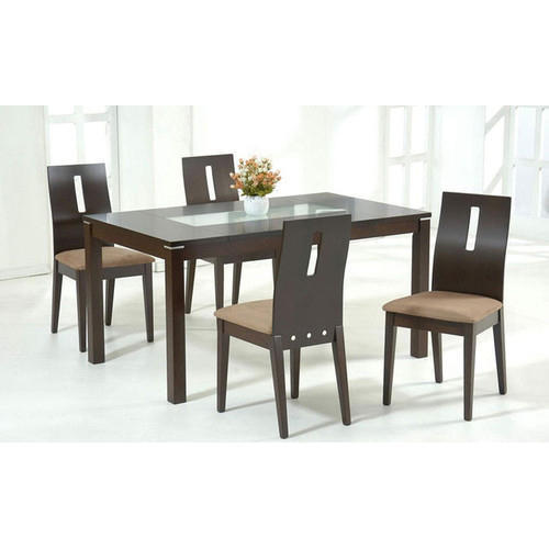 Vivan Interio Brown Glass Dining Table, Glass Dining Room Table With Wood Base