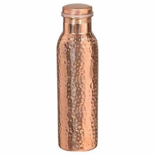 Aleeza Round Copper Bottle, Size: Dx3,Hx10.5 Inch, Capacity: 950 Ml