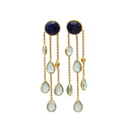 Blue Topaz and Lapis Lazuli Chain Earring