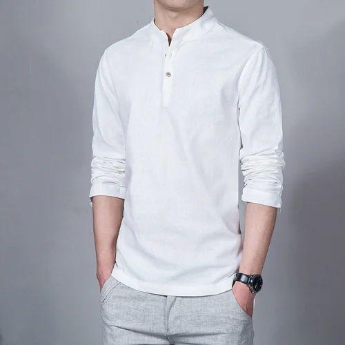 1708b7d79 White Cotton/Linen Mens Chinese Collar Shirt, Rs 270 /piece   ID ...