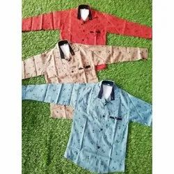 Casual Wear Cotton Kids Full Sleeves Printed Shirt