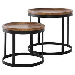 Standard Solid Sheesham Wood Iron Coffee Table for Restaurant, Size: Asap