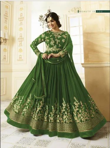 f081312db Women  s Parrot Green Georgette Embroidered Long Semi-Stitched Salwar Suit