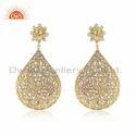 Beautiful Zircon Set Gold On 925 Silver Drop Earrings Jewelry