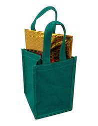 Laminated Sea Green Solid Jute Lunch Bag