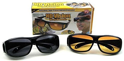 2 Sets HD Night/&Day Vision Wraparound Sunglasses Fits over glasses UV Protection