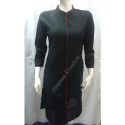 Cambric Cotton Designer Black Kurtis