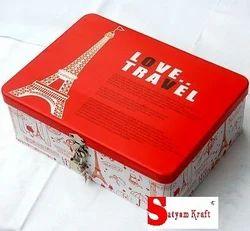 Satyam Kraft Metal rectangle shape printed love travel trunk box