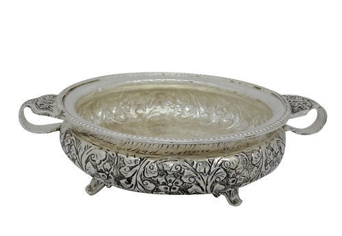 Metal Silver Plated Decorative Urli, For Home Decoration & Gifting