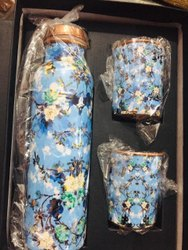 Blue Flower Meena Print Bottle Set