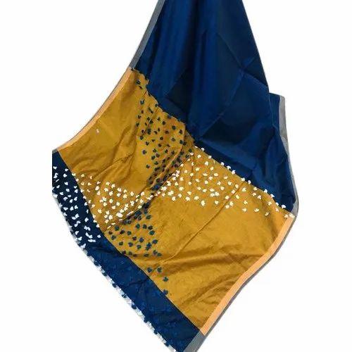 08b11b9a397 Cotton Silk Pom Pom Work Blue Woven Design Saree