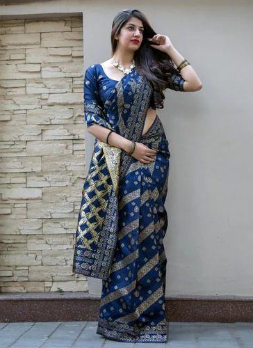 d0bea6124c55c3 Banarasi Silk Navy Blue Wedding Wear Saree