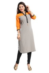 Yellow-Grey Crepe Kurti