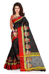 Jacquard Cotton Saree With Jewelry